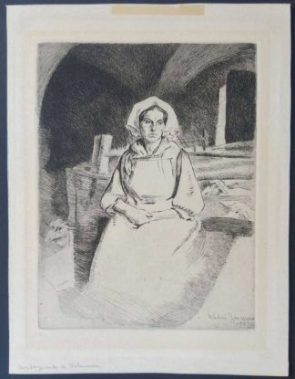 """Gravure, """"Montagnarde de Valmaure"""", André Jacques"""