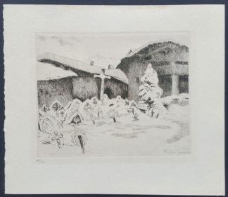 Gravure, église dans la néige, André Jacques