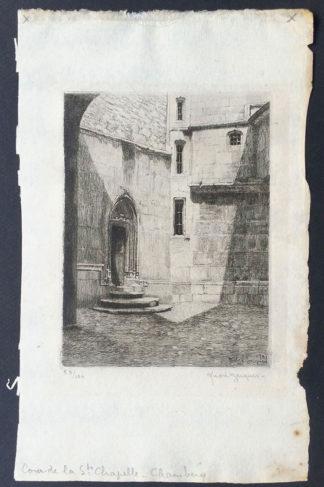"""Gravure, """"Cour de la Ste Chapelle Chambéry"""", André Jacques"""