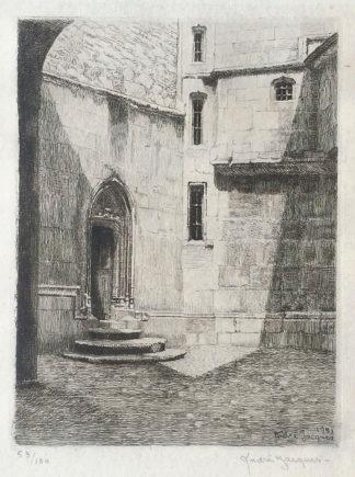 """Gravure, """"Cour de la Ste Chapelle Chambéry"""" d'André Jacques"""