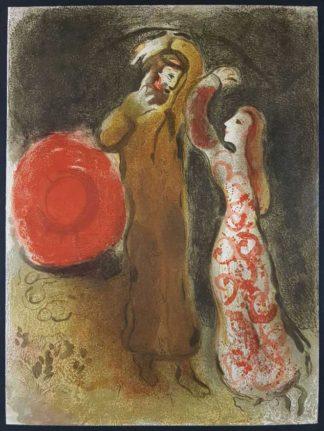 """La lithographie """"Rencontre de Ruth et de Booz"""" de Marc Chagall"""