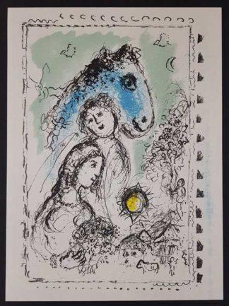 """La lithographie """"Le cheval bleu au couple"""" de Marc Chagall"""