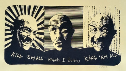 """Linogravure """"Autoportrait"""" de Régis Gonzalez"""