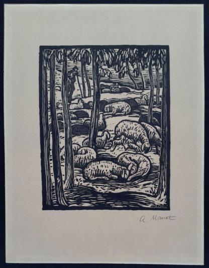 """Gravure sur bois """"Les moutons"""", Alexandre Mairet"""