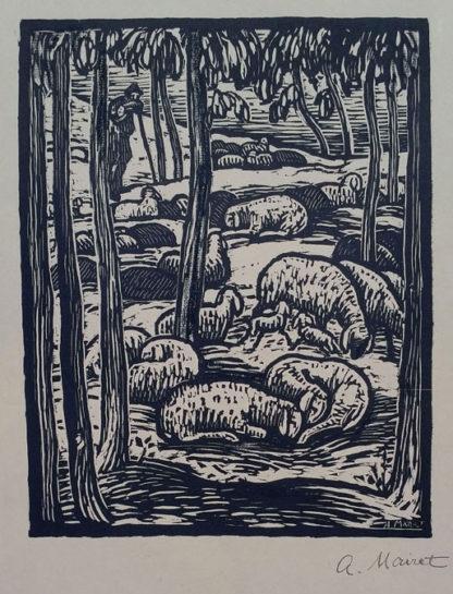 """Gravure sur bois """"Les moutons"""" d'Alexandre Mairet"""