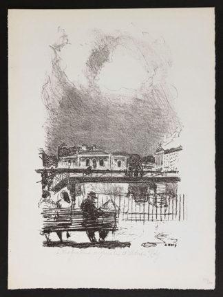 Lithographie, scène de ville, d'Adrien Holy