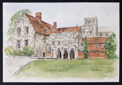 """Impression giclée """"The Deanery, Winchester"""" de Glyn Martin."""
