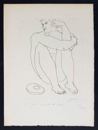 Gravure, homme assis, de Hans Erni