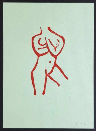 Axel Vater, gravure sur bois, femme nue