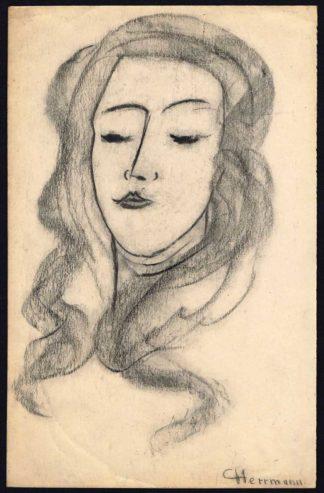 Dessin au fusain, portrait d'une femme