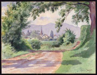 Jean Wolf, aquarelle route du village