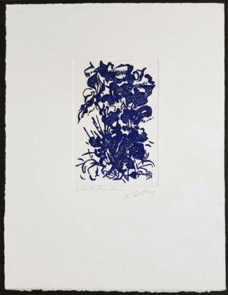 """Nicole Quétin, gravure """"Feuillages bleus"""""""