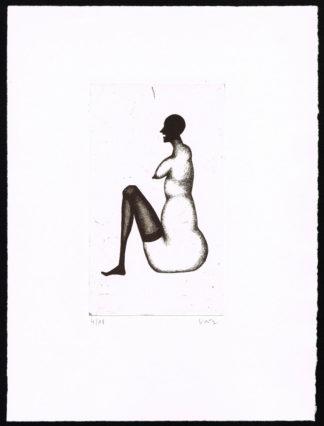 """Gravure à l'eau forte """"femme nue assise"""" d'Axel Vater"""