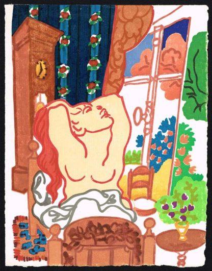 """Gravure sur bois """"Appareil de la terre"""" de Charles Lapicque"""