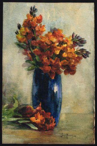 """Louise Reynaud, aquarelle """"Pivoines giroflées dans un vase bleu"""""""